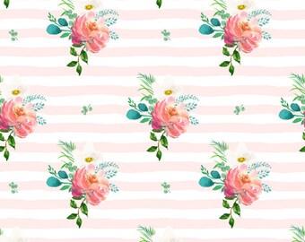 Rose Stripe Pillow Cover, Decorative, Deer,Woodland