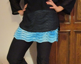 Dress Extender Slip Blue Tiered Ruffle, Half Slip, Skirt Extender, Layered Ruffle Skirt Blue Top Extender Slip Extender Plus Size Clothing