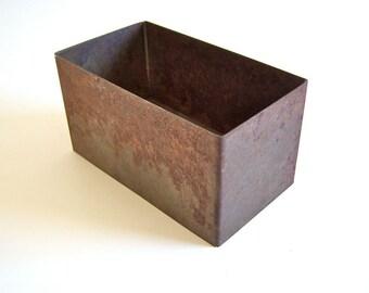 "Old Metal Box heavy gauge Rusted steel 5.5"" x 3"" x 3"""