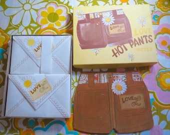 Vintage 1970s Retro MOD Groovy Love Hot Pants Notes Stationery Hippie Flower Power Child NOS Art