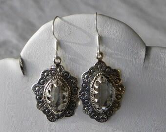 "Herkimer Diamond Earrings Handmade Earrings Rare NY Gemstone Earrings Healing 1"" Sterling Silver Earrings Take 20% Off Herkimer Jewelry"