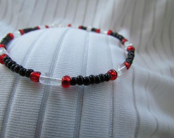 Black, Ruby Red and Crystal Clear Anklet - Glass