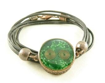 Orgone Energy Mens Necklace - Unisex Necklace - Double Sided Pendant - Malachite Gemstone - Copper - Leather - Artisan Jewelry