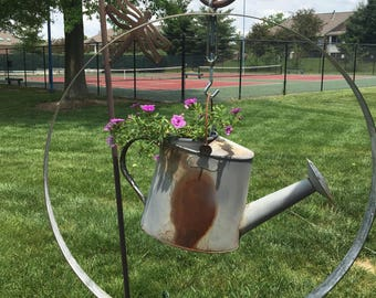 Bourbon Barrel Ring Watering Can Planter