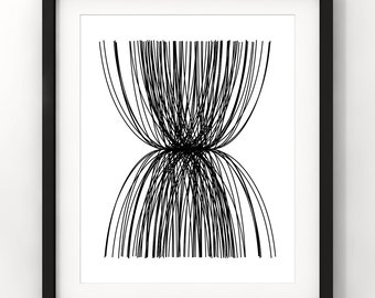 Downloadable Art, Abstract Line Art, Home Decor, Minimalist, Modern Art, Black and White, Printable Download, Digital Download
