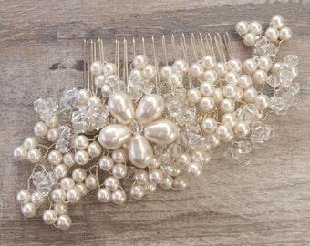 Maya Pearl Hair Comb Flora Headpiece  Wedding Headdress Handmade Bridal Ivory Pearls Silver Hair Accessories Bridesmaid Hair Comb