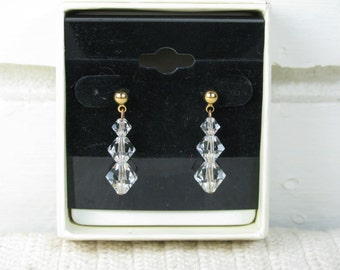 Art Deco Sarowski crystal drop earrings with gold and stainless steel posts