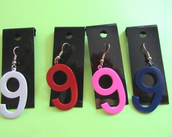 Enameled Number 9 Pierced Single Earring Color Choice Original Cards Numerology Lucky NINE Lottery Casino Vintage 1980s Costume Jewelry