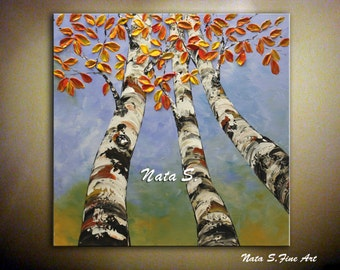 Original Modern Birch Tree Painting Autumn Birch Forest Artwork Palette Knife Impasto Landscape Sky Tree Large Painting Wall Decor by Nata S