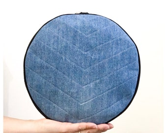 Luna Quilted Denim Clutch - Hand crafted from Salvaged Jeans