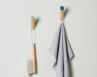 Light Blue Entryway coat hook, wall hook, wooden peg, WH-04