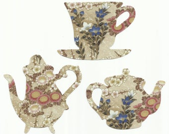 Floral Teacup and Teapots Set Fabric Iron On Appliques