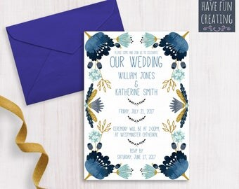 Wedding Invitation: Blue Flowers - Print at home