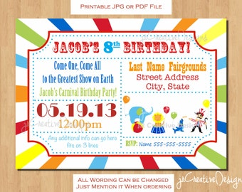 Circus invitation Carnival invitation Circus birthday invitation Carnival birthday invitation circus ticket invitation birthday party kids