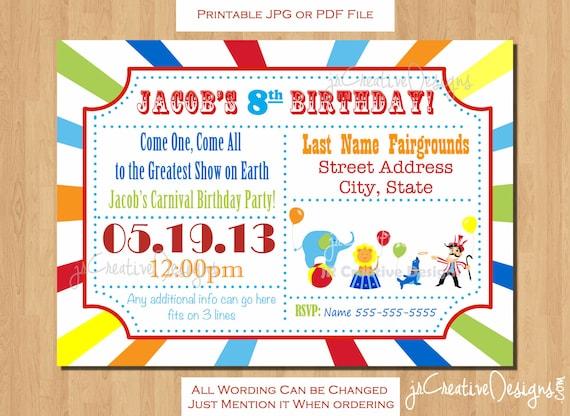 Circus invitation carnival invitation circus birthday invitation il570xn stopboris Gallery