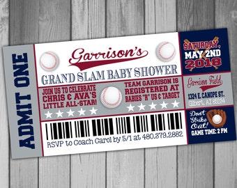 Baseball Baby Shower Invitation Baseball Ticket Invitation Coed Baby Shower Invitation Baseball Invitation Baseball Shower Invitation