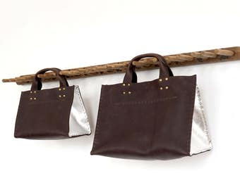 Cabas - Market Tote - Chocolate Buffalo Leather and Silver