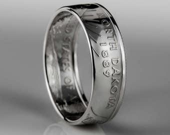North Dakota Quarter - Coin Ring - SILVER (.900)