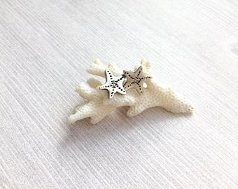 Silver Starfish Studs, Handmade Fine Silver Starfish Earrings, Sealife, Beach Jewelery,