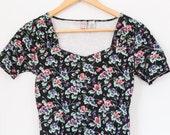 Women's vintage body suit / medium / floral / one piece