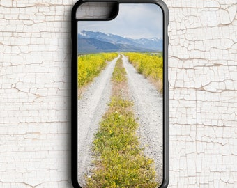 Cell Phone Case, Yellow Wildflowers, Peaceful Road, Nevada Photography -  iPhone or Samsung Galaxy