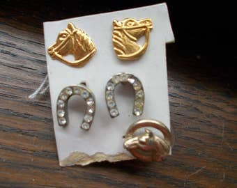 1 pair of Simply Whispers 24kt gf horse earrings and rhinestone horseshoe earrings