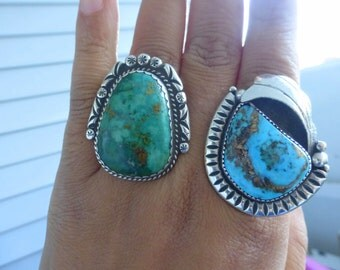 Huge Royston Turquoise Teddy Goodluck  Navajo Native american Sterling Silver ring Size 8