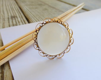 HUGE Solid Gold 1800s Victorian genuine Moonstone brooch collar pin