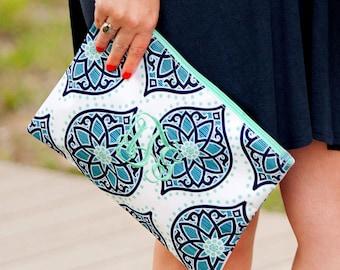 Monogrammed Boho Zip Pouch. Monogram cosmetic bag for women. Bridal shower gift, Birthday present. Summer beach tote. Initials bag.