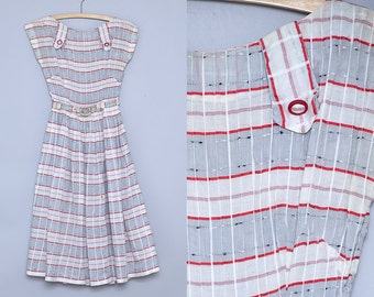 1950s Party Dress Red Plaid Sheer Cotton Belted Full Circle Rockabilly  Dress