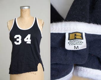 1960s Russell Southern Basketball Jersey Black and White #34 Athletic Tank