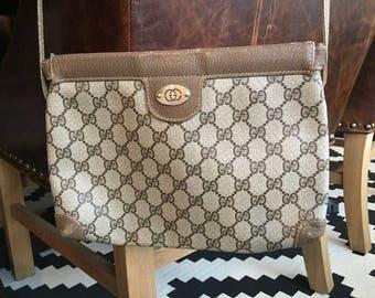 Monogram GUCCI shoulder purse vintage 1980s AUTHENTIC brown GG