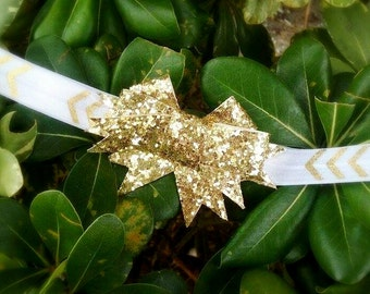 Gold bow, gold bow headband, Christmas gold bow, Christmas headband, gold Christmas headband, chevron headband, gold chevron headband