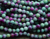 8mm Light Turquoise, Olive Green and Purple Natural White Jade Polished Gemstone Beads, Half Strand (INDOC592)