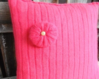 Upcycled Hot Pink Sweater Pillow - Decorative Thow Pillow