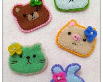Free Shippibg ~ Mini Felt Animal Brooch / Vintage Felt Dolls / Felt Rabbits / Felt Pig / Felt Cat / Felt Panda / Felt Brooch