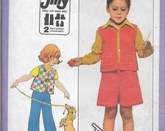 Vintage Kids 1970s Vest, Pants, and Gauchos Pattern, Childrens Pants and Shorts Pattern, Childrens Vest Pattern, Size 5