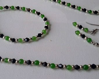 Aventurine Gemstone, Black Swarovski Crystals, and Silver Beaded Necklace, Earring, and Bracelet Set