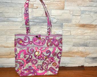 90s vintage Vera Bradley paisleys red  Cloth Tote Handbag Purse fabric shoulder bag   diaper bag vacation travel bag