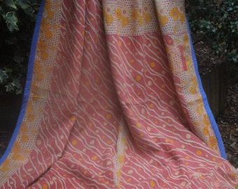 Soft Red/yellow/ blue vintage kantha quilt, Kantha throw, Sari blanket, Vintage kantha quilt, Yellow Sari throw, Kantha blanket,Boho throw