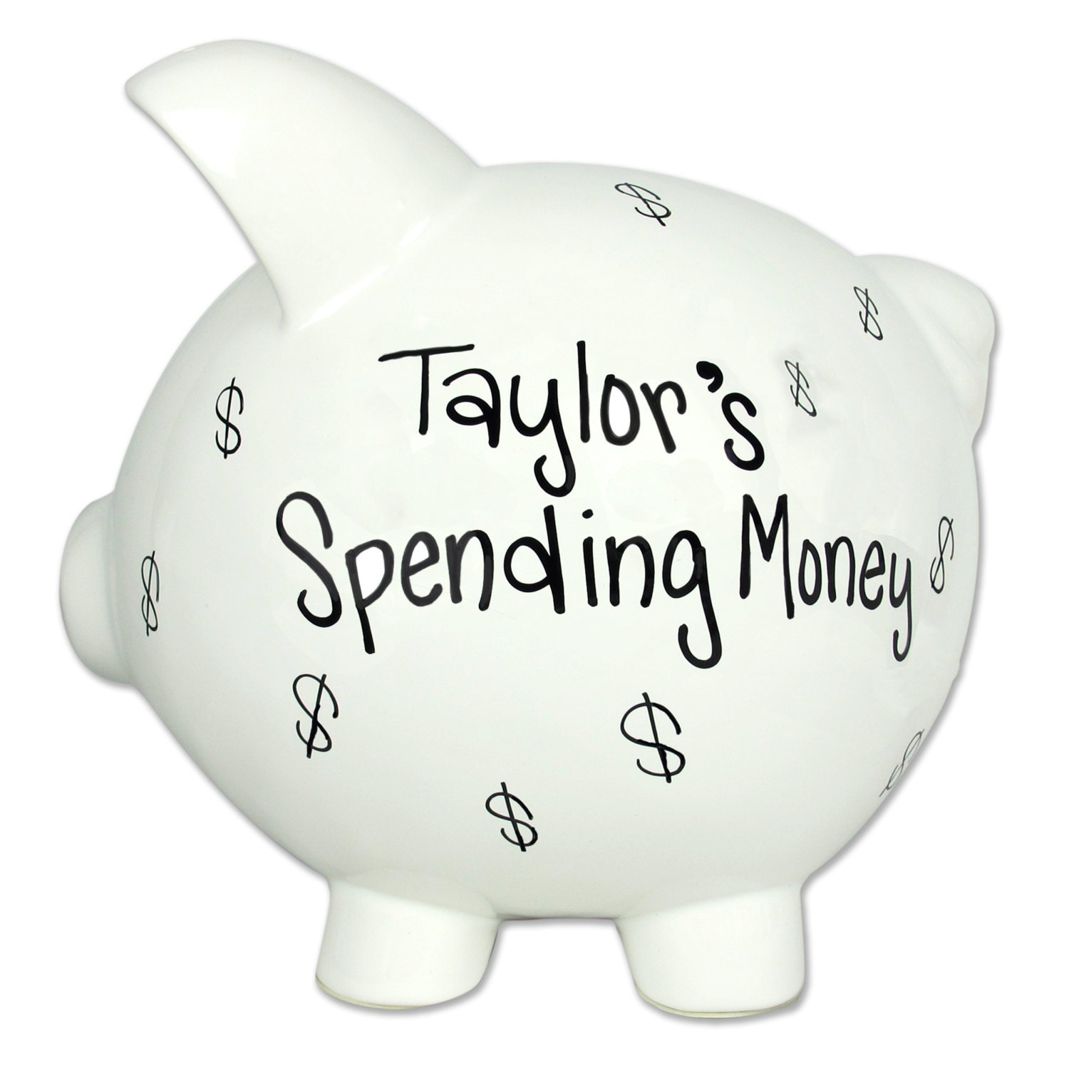 Any Fund Adult Piggy Bank Hand Painted Personalized Ceramic