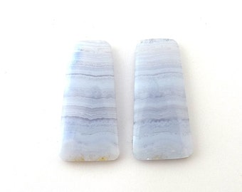 Soft Pastel Blue Lace Agate Designer Cab Matched Pair 13.5x27.5x3.7 mm 25.7 carats Free Shipping