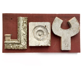 JOY sign, handmade wood sign, reclaimed wood sign, christmas sign, mixed media assemblage art by Elizabeth Rosen