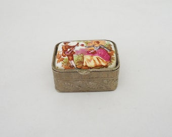 Vintage Italian Pill Box, Miniature Trinket Box, Enamel Pill Box, Metal  Medicine Box