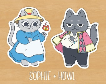 Howl & Sophie Cat Sticker Pack // Howl's Moving Castle, Studio Ghibli, anime, cute stationery, planner stickers, vinyl sticker, kawaii