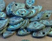 ON SALE Mykonos Evil Eye Charm 11mm X 20mm Green Patina Qty 2