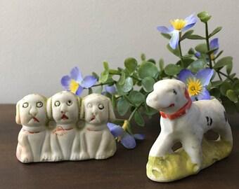 Miniature Ceramic Dogs marked Japan / Vintage Animal Figures /Googly Eye Dogs / Pointer Dog