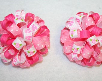 Ballet Ballerina Loopy Puff Bow SET OF 2
