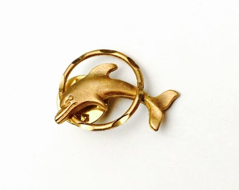Dolphin Lapel, Gold Tone, Animal Figural, Masculine Pin, Gifts For Him, Clearance Sale, Item No. B490