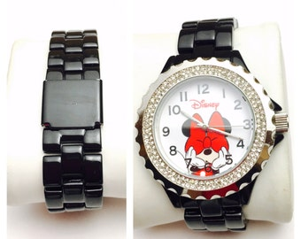 Vintage Minnie Mouse Watch, black rigid metallic band, Disney exclusive, Clearance Sale, Item No. B200